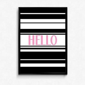 Hello Print, Retro Typography, Black and Pink, Quote Art, Printable Poster, 8x10 Hello Poster, Retro Decor, Retro Wall Art