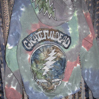 "GRATEFUL DEAD Inspired Tie Dye Hoodie ""one for the faithful"" ~ Steal YOUR Face / Dancing Bear / 13 Bolt ~ Medium ~ Jenn & Jodi Collab!"