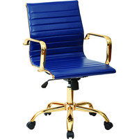 Work Smart Lumbar Support Chair with Thick Padding, Navy Faux Leather