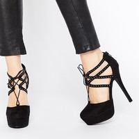 New Look Studded Lace Up Heels