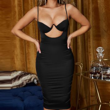 Women's sexy sling hollowed out hips with chest pad dress Black