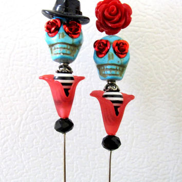 Rockabilly In Love Day of the Dead Cake Topper Sugar Skull Gothic Wedding Pin Bride Groom