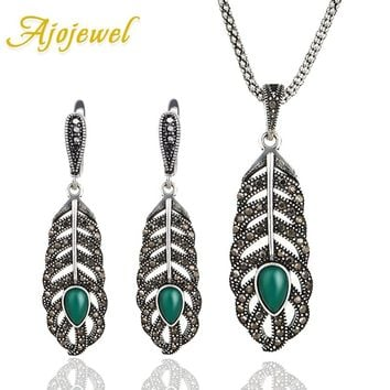 Ajojewel 2017 Vintage Green Resin Stone Feather Earrings Necklace Sets Women Jewelry Set Rhinestone Wedding Party Jewellery