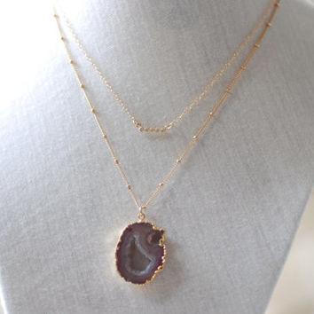 Druzy Necklace, Amethyst Druzy Necklace, Gold Druzy necklace, Pendent Necklace, Gold Amethyst Geode necklace, Druzy Jewelry, Amethyst Druzy
