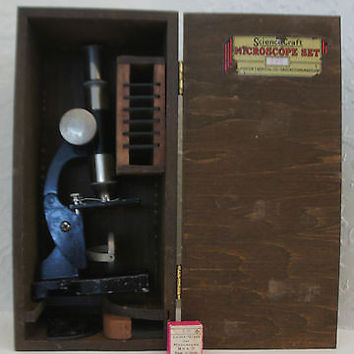 Vintage 1950's Microscope Science Set Rare Set No.205 by Porter Chemical Co.