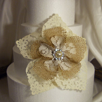 Rustic Burlap & Lace Cake Topper Flower, handmade of burlap, antique stained lace and ivory paper doily petals.