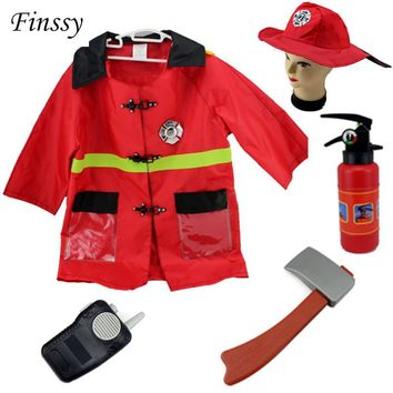 Fireman Sam Costume for kids Carnival Halloween Costume for Girl Boy Christmas Party Dress Clothes Hat ax Fire extinguishers
