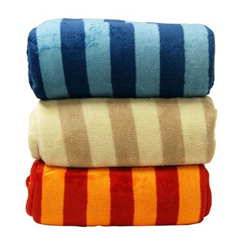 LCM Home Fashions Luxury Striped Microplush Blanket - Blankets at Hayneedle