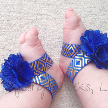 Royal Blue and Gold Aztec Baby Barefoot Sandals; Piggy Petals and Headband; Toe Blooms; Flower Sandals; Baby Shower Gift; Baby Girl Shoes