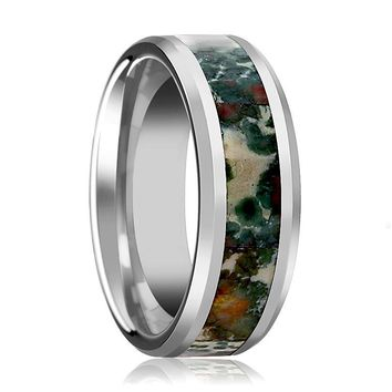 RAZZAK Men's Silver Tungsten Wedding Band with Coprolite Fossil Inlay and Bevels - 8MM