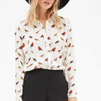 Bird Print Button-Down Blouse