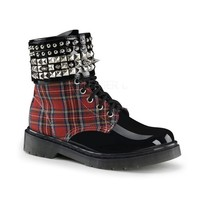 """Women's """"Rage"""" Boots With Ankle Cuff by Demonia (Black/Red Plaid)"""