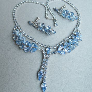 Exceptional Unsigned WEISS 1950's Blue Rhinestone Festoon Necklace & Dangle Earrings Set