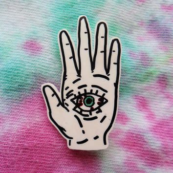 Eyeball Palm Pin Badge