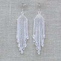 Crystal Earrings. Dangle Long Earrings. Beadwork