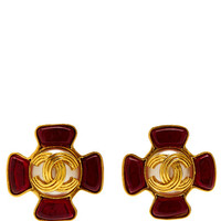 Chanel Red Gripoix And Pearl CC Earring by Vintage Chanel for Preorder on Moda Operandi