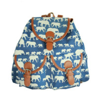 Blue Elephant School Bag Travel Bag Canvas Lightweight Backpack