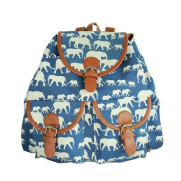 Blue Elephant School Bag Travel Bag Canvas Lightweight College Backpack