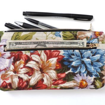 Floral Linen Clutch Purse Wallet Pencil Case Double Zipper Pouch Flowers