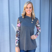 Gray Floral-Sleeve Blouse