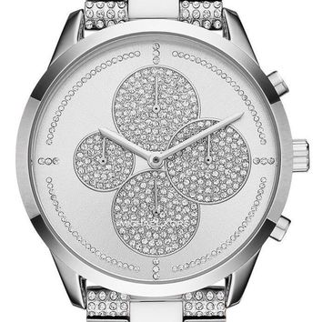 NEW WOMENS MICHAEL KORS (MK6552) SLATER CHRONOGRAPH GLITZ PAVE SILVER WATCH