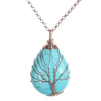 Top Plaza Wire Wrapped Tree of Life Natural Gemstone Teardrop Pendant Necklace Healing Crystal Chakra Jewelry for Women - Synthetic Green Turquoise