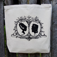 Frankenstein and Bride Tote Bag. Bride of Frankenstein Bag. Cotton Canvas Bag. Monster Tote Bag.