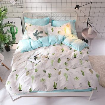 Bedding Sets Duvet Cover 3/4pcs Cartoon New Fashion Bed Sheets Single Twin Full Queen Sizes Printing Light Blue Cactus (Not Incl