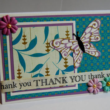 Thank You - Handmade Greeting Card - Diecut Butterfly and Paper Flowers in Teal, Purple, and Cream