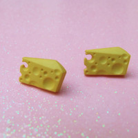 Yellow Swiss Cheese Stud Earrings - Cheese Lover Post Earrings - I Love Cheese - Miniature Food Earrings - Hypoallergenic Nickel Free