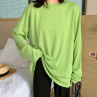 Autumn new pullover sweater women loose lazy wind BF five-color foundation long-sleeved T-shirt