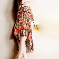 New Bohemian High Low Falbala Dress