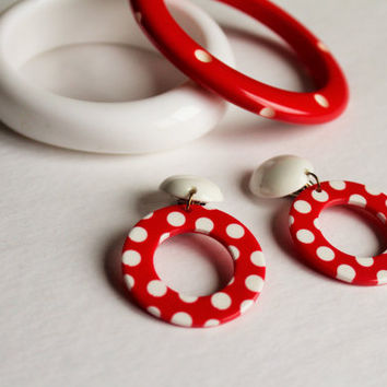 Vintage Red & White Polka Dot Lucite Jewelry Set