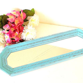 Shabby Blue Mirror, distressed wall mirror, accent or dresser vanity tray, turquoise, aqua, 1970's Homco oblong mirror, beach cottage decor
