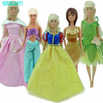"5x Fairy Tale Dress Princess Gown Outfit Mermaid Fishtail Clothing Clothes For Barbie Doll 11.5"" 12"" Puppet Play House Toys Gift"