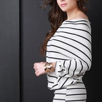 Off Shoulder Slouchy Striped Knit Dress