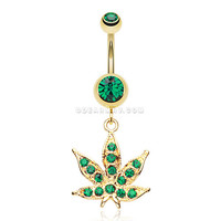 Golden Cannabis Leaf Sparkle Belly Ring (Green)