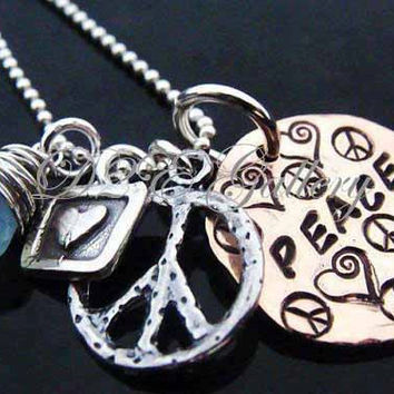 D2E Hand stamped lucky penny sterling silver charm necklace, wire wrapped gemstone, PEACE, heart