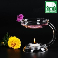 Glass Essential Oil Burner and Candle Lamp