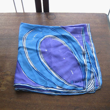 Blue & Purple Mod Swirl Scarf by Vera - Late '60s Vintage 1970s Purple/Blue Silk Scarf - Blue/Purple Head Wrap - Purple Mod Decor
