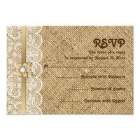 White lace, linen burlap wedding RSVP response Personalized Announcements from Zazzle.com
