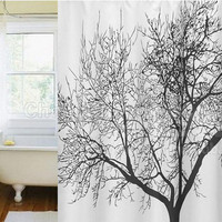 BIG BLACK TREE WATERPROOF SHOWER CURTAIN