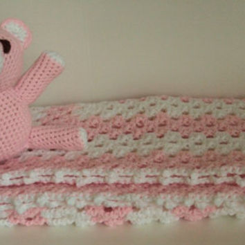 Baby Gift Set - Baby Blanket / Afghan and Bear - Pink and White