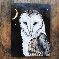 Owl Art.  Barn Owl Moon.  Original Oil Painting on Wood Panel with 23k Gold Leaf Moon and Stars.