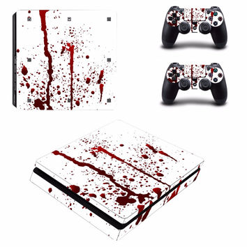 Blood Splatter Vinyl Decal Skin For playstation 4 Console +2Pcs Stickers For ps4 Controllers