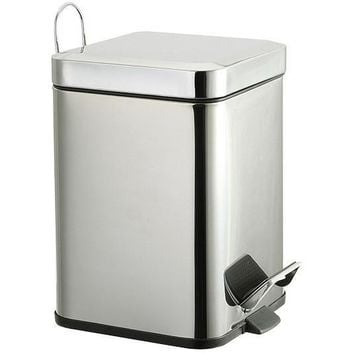 BR Rectangular Step Wastebasket Trash Can for Bathroom, Kitchen, Office - Metal