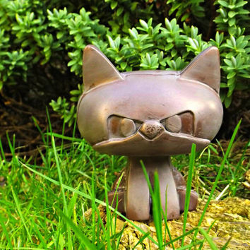Copper Cat Ornament Indoor or outdoor sculpture. Feline Figure