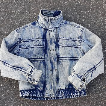 8f7fc8405 Vtg 80s Expressions Denim Jacket Acid Wash sz Med Puffer Jacket