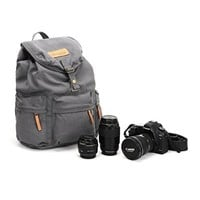 YOPO Fashion Casual Vintage Canvas DSLR SLR Camera Shoulder Bag Backpack Rucksack Bag With Waterproof Cover For Sony Canon Nikon Olympus---Khaki (Grey)