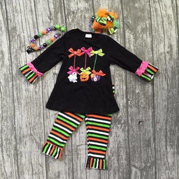 Fall baby girls Halloween outfits children clothes skull pumpkin striped colorful streak pants cotton bow sets match accessories